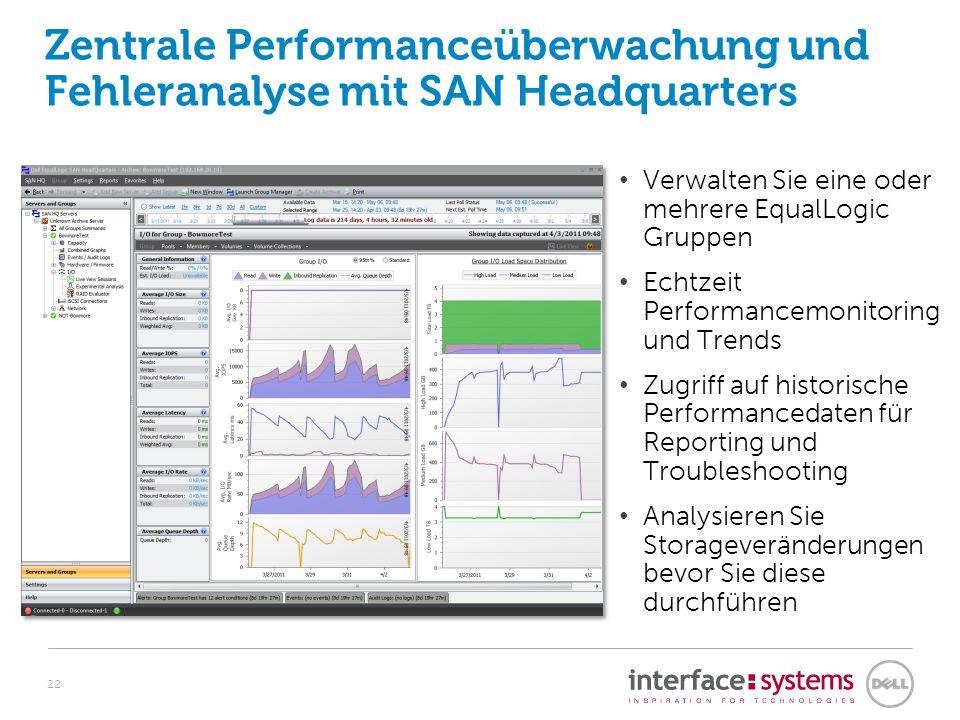 Zentrale Performanceüberwachung und Fehleranalyse mit SAN Headquarters Verwalten Sie eine oder mehrere EqualLogic Gruppen Echtzeit Performancemonitori