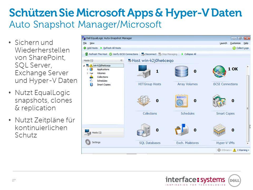 27 Schützen Sie Microsoft Apps & Hyper-V Daten Auto Snapshot Manager/Microsoft Sichern und Wiederherstellen von SharePoint, SQL Server, Exchange Serve