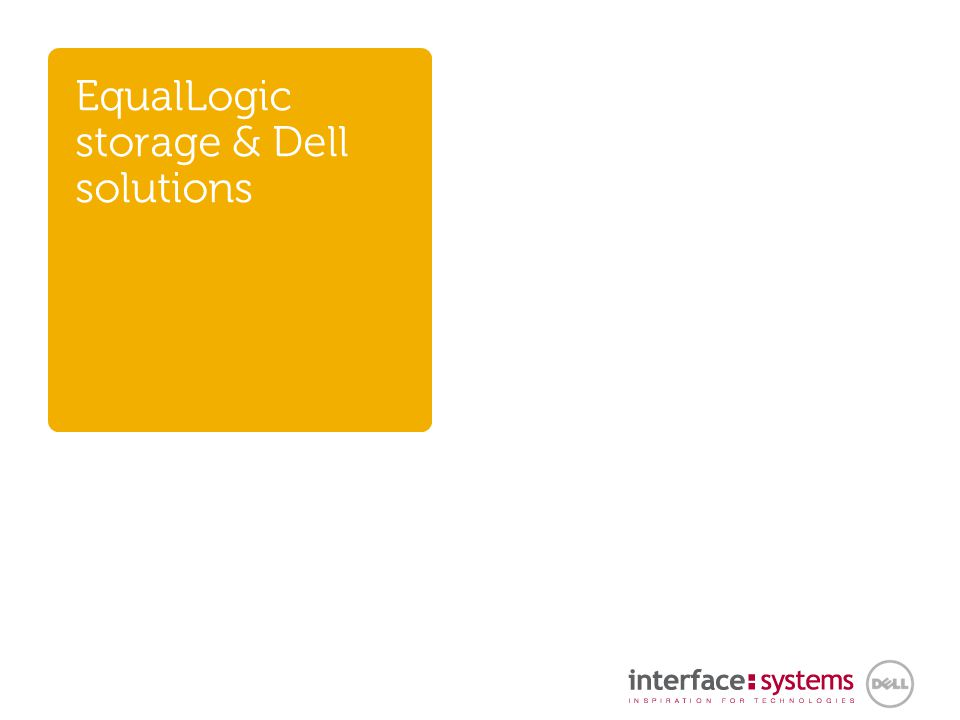 EqualLogic storage & Dell solutions