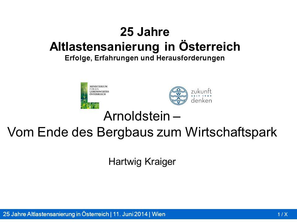 25 Jahre Altlastensanierung in Österreich | 11. Juni 2014 | Wien 1 / X 25 Jahre Altlastensanierung in Österreich Erfolge, Erfahrungen und Herausforder
