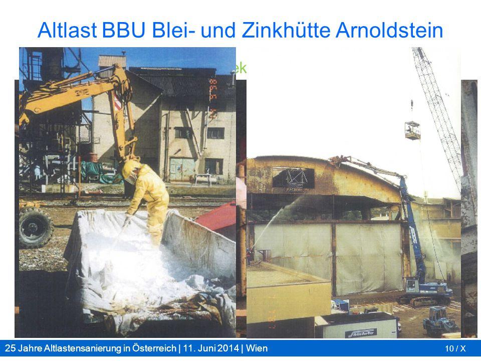 25 Jahre Altlastensanierung in Österreich | 11. Juni 2014 | Wien 10 / X Altlast BBU Blei- und Zinkhütte Arnoldstein Gebäude und Anlagen: Dekontaminati