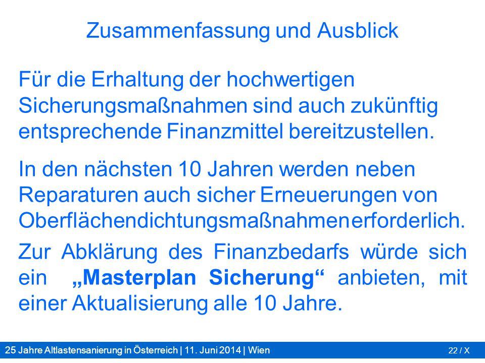 25 Jahre Altlastensanierung in Österreich | 11. Juni 2014 | Wien 22 / X Zusammenfassung und Ausblick Für die Erhaltung der hochwertigen Sicherungsmaßn