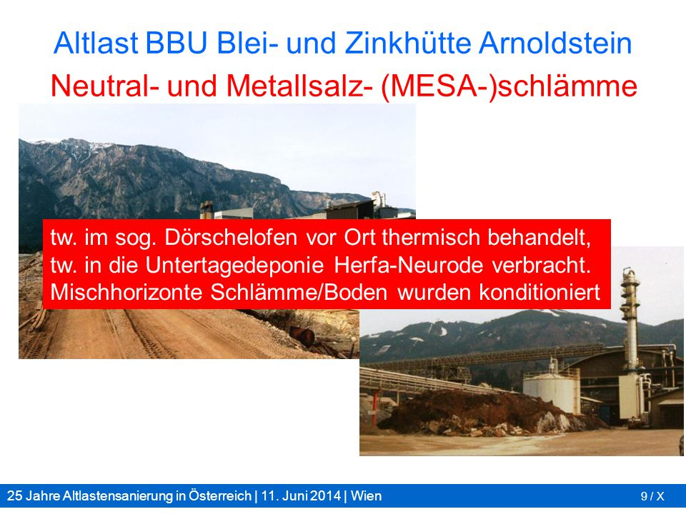 25 Jahre Altlastensanierung in Österreich | 11. Juni 2014 | Wien 9 / X Altlast BBU Blei- und Zinkhütte Arnoldstein tw. im sog. Dörschelofen vor Ort th