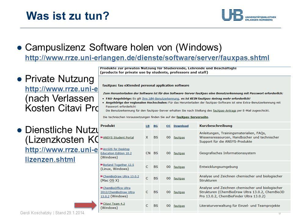 Hilfe im Netz Gerdi Koschatzky | Stand 29.1.201439 http:// www.citavi.com/de/support.html