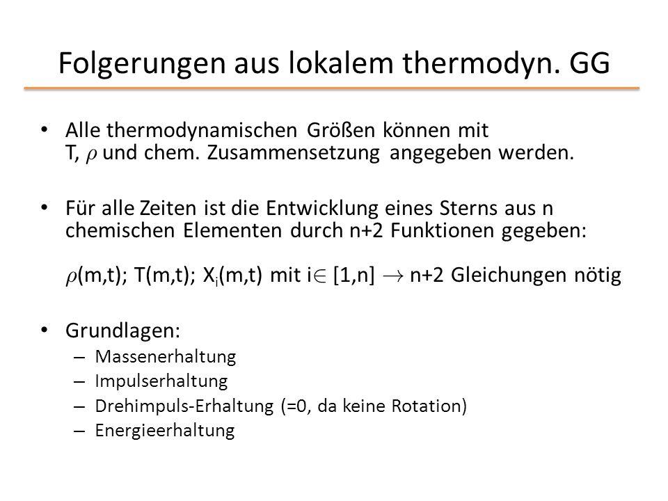 Folgerungen aus lokalem thermodyn. GG Alle thermodynamischen Größen können mit T, ½ und chem. Zusammensetzung angegeben werden. Für alle Zeiten ist di