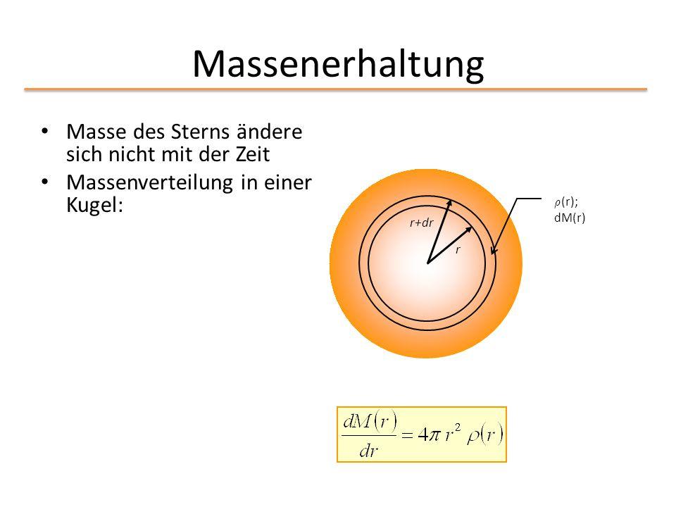Massenerhaltung Masse des Sterns ändere sich nicht mit der Zeit Massenverteilung in einer Kugel: r r+dr ½ (r); dM(r)