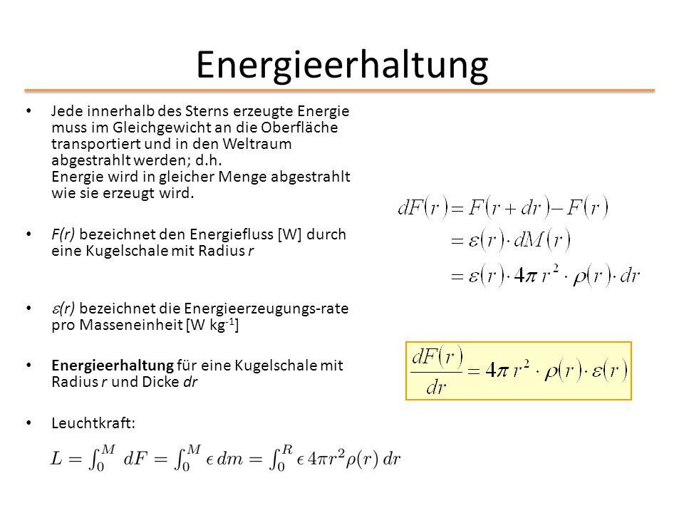 Energieerhaltung Jede innerhalb des Sterns erzeugte Energie muss im Gleichgewicht an die Oberfläche transportiert und in den Weltraum abgestrahlt werd