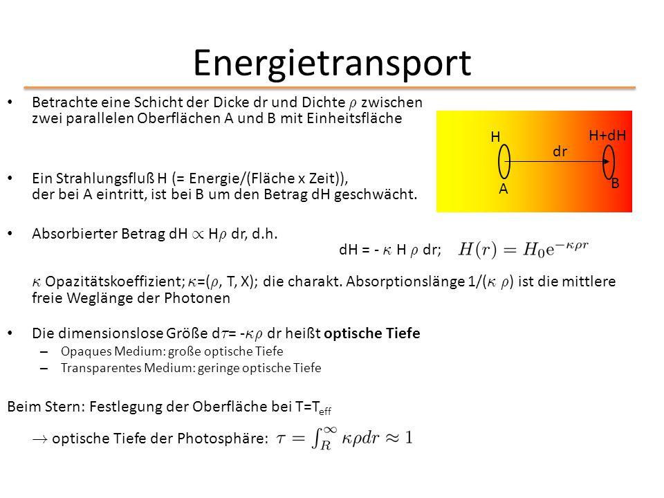 Energietransport Betrachte eine Schicht der Dicke dr und Dichte ½ zwischen zwei parallelen Oberflächen A und B mit Einheitsfläche Ein Strahlungsfluß H