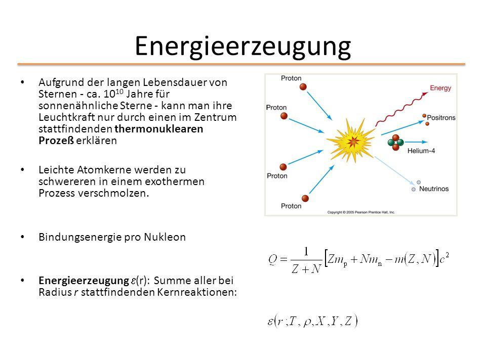 Energieerzeugung Aufgrund der langen Lebensdauer von Sternen - ca. 10 10 Jahre für sonnenähnliche Sterne - kann man ihre Leuchtkraft nur durch einen i