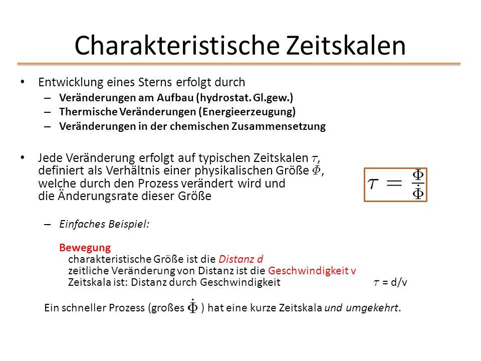 Charakteristische Zeitskalen Entwicklung eines Sterns erfolgt durch – Veränderungen am Aufbau (hydrostat. Gl.gew.) – Thermische Veränderungen (Energie