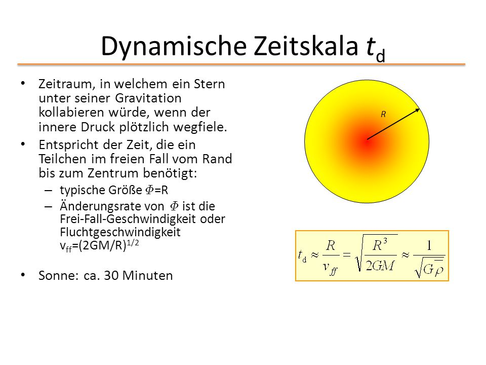 Dynamische Zeitskala t d Zeitraum, in welchem ein Stern unter seiner Gravitation kollabieren würde, wenn der innere Druck plötzlich wegfiele. Entspric