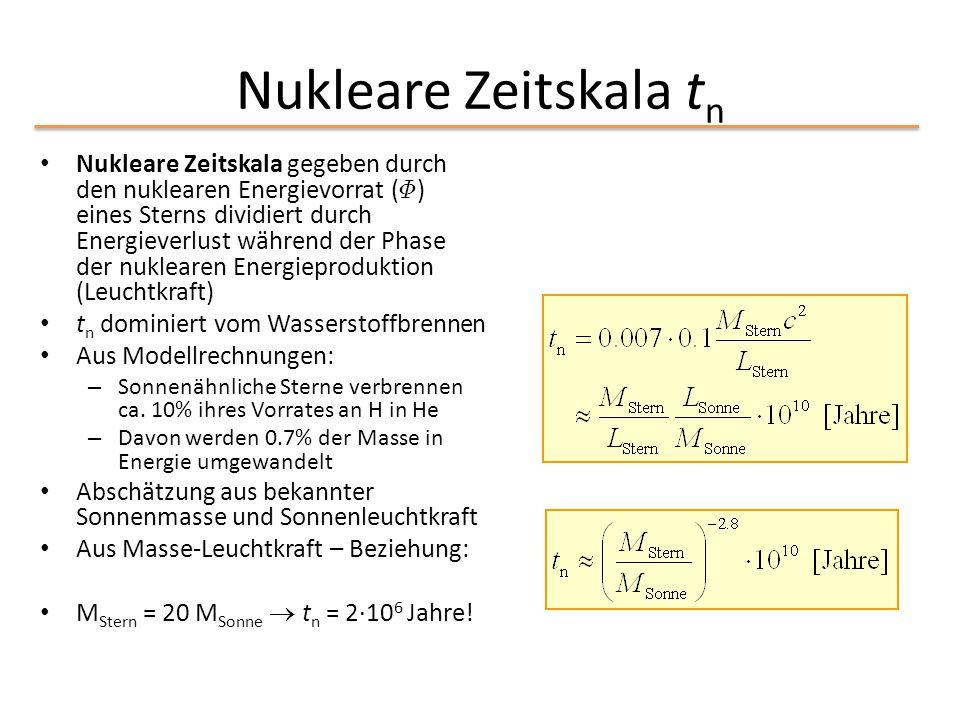 Nukleare Zeitskala t n Nukleare Zeitskala gegeben durch den nuklearen Energievorrat ( © ) eines Sterns dividiert durch Energieverlust während der Phas