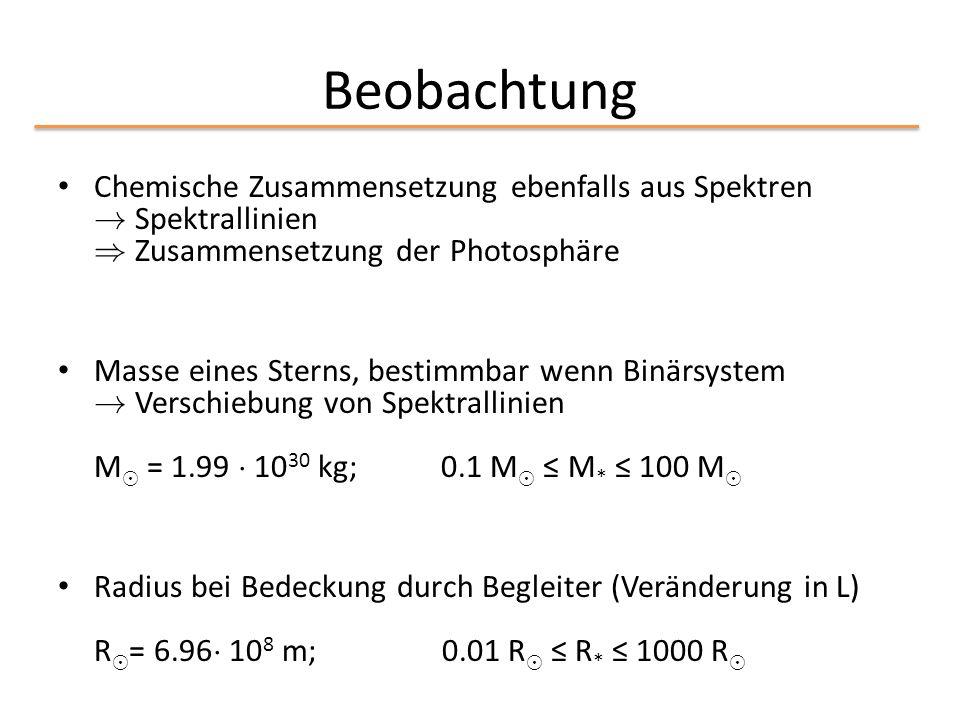 Beobachtung Chemische Zusammensetzung ebenfalls aus Spektren ! Spektrallinien ) Zusammensetzung der Photosphäre Masse eines Sterns, bestimmbar wenn Bi