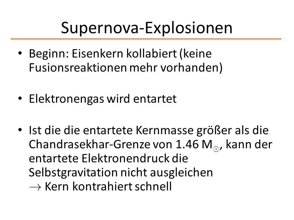 Supernova-Explosionen Beginn: Eisenkern kollabiert (keine Fusionsreaktionen mehr vorhanden) Elektronengas wird entartet Ist die die entartete Kernmass