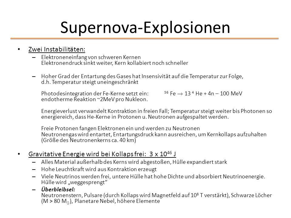 Supernova-Explosionen Zwei Instabilitäten: – Elektroneneinfang von schweren Kernen Elektronendruck sinkt weiter, Kern kollabiert noch schneller – Hohe