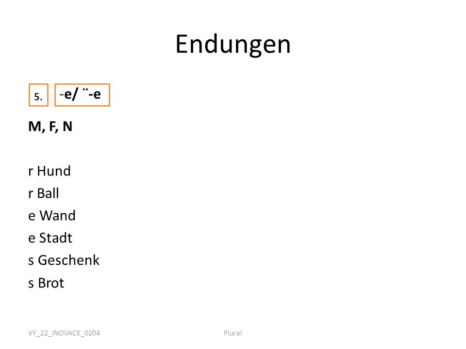 VY_22_INOVACE_0204Plural Endungen M, F, N r Hund r Ball e Wand e Stadt s Geschenk s Brot -e/ ¨-e 5.