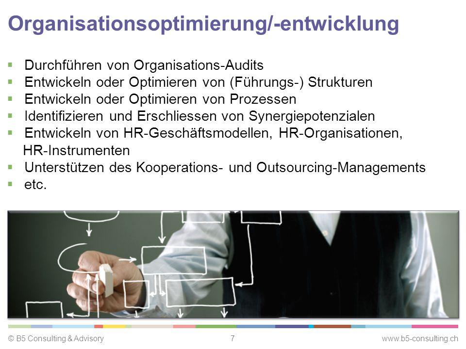 © B5 Consulting & Advisory7 www.b5-consulting.ch Organisationsoptimierung/-entwicklung  Durchführen von Organisations-Audits  Entwickeln oder Optimieren von (Führungs-) Strukturen  Entwickeln oder Optimieren von Prozessen  Identifizieren und Erschliessen von Synergiepotenzialen  Entwickeln von HR-Geschäftsmodellen, HR-Organisationen, HR-Instrumenten  Unterstützen des Kooperations- und Outsourcing-Managements  etc.