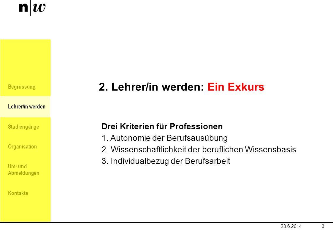 Begrüssung Lehrer/in werden Studiengänge Organisation Um- und Abmeldungen Kontakte 3 2. Lehrer/in werden: Ein Exkurs Drei Kriterien für Professionen 1