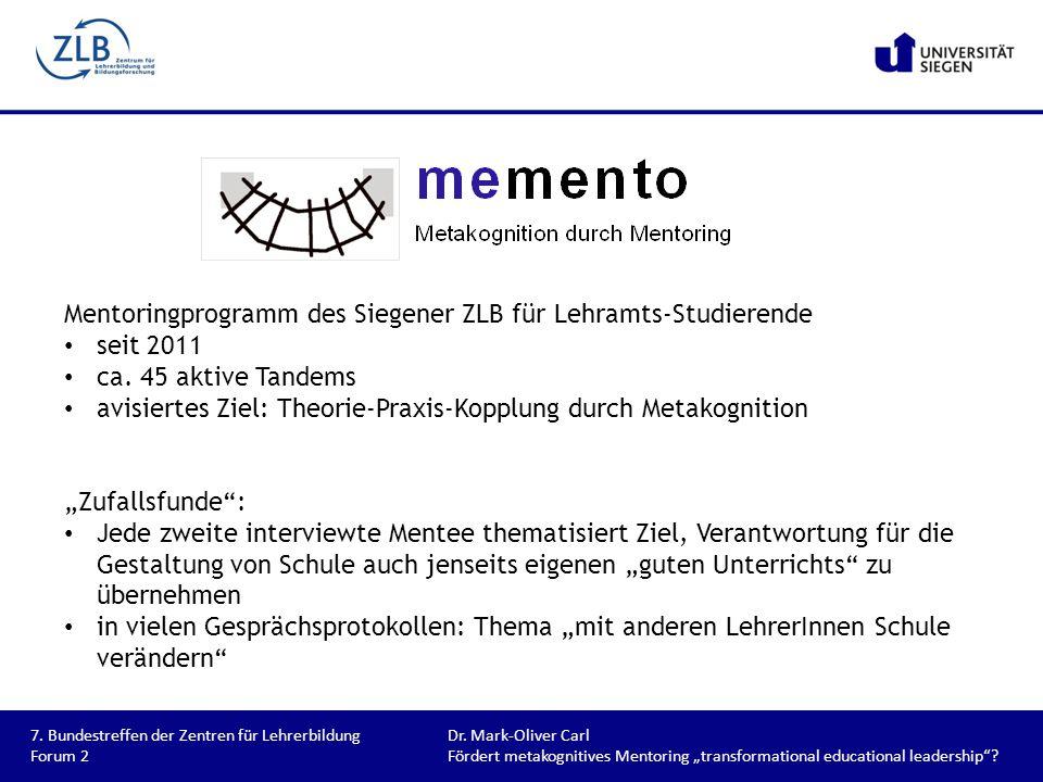 Mentoringprogramm des Siegener ZLB für Lehramts-Studierende seit 2011 ca. 45 aktive Tandems avisiertes Ziel: Theorie-Praxis-Kopplung durch Metakogniti