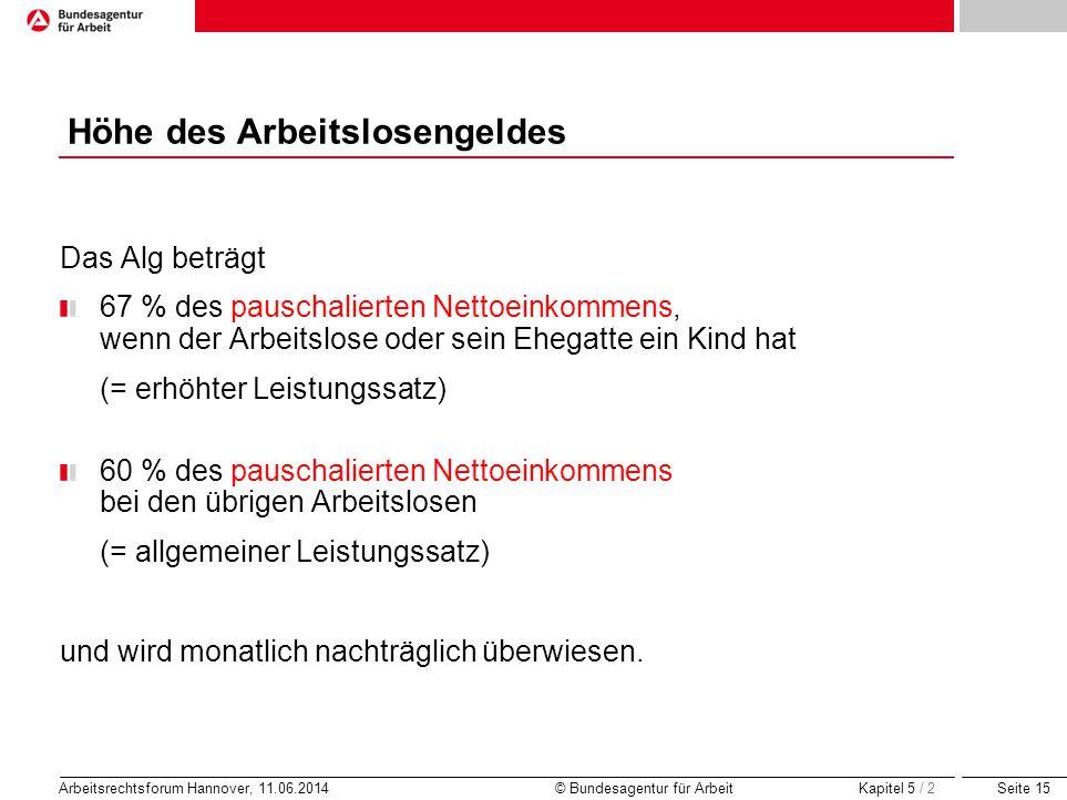 Seite 15 Arbeitsrechtsforum Hannover, 11.06.2014 © Bundesagentur für Arbeit Höhe des Arbeitslosengeldes Das Alg beträgt 67 % des pauschalierten Nettoe