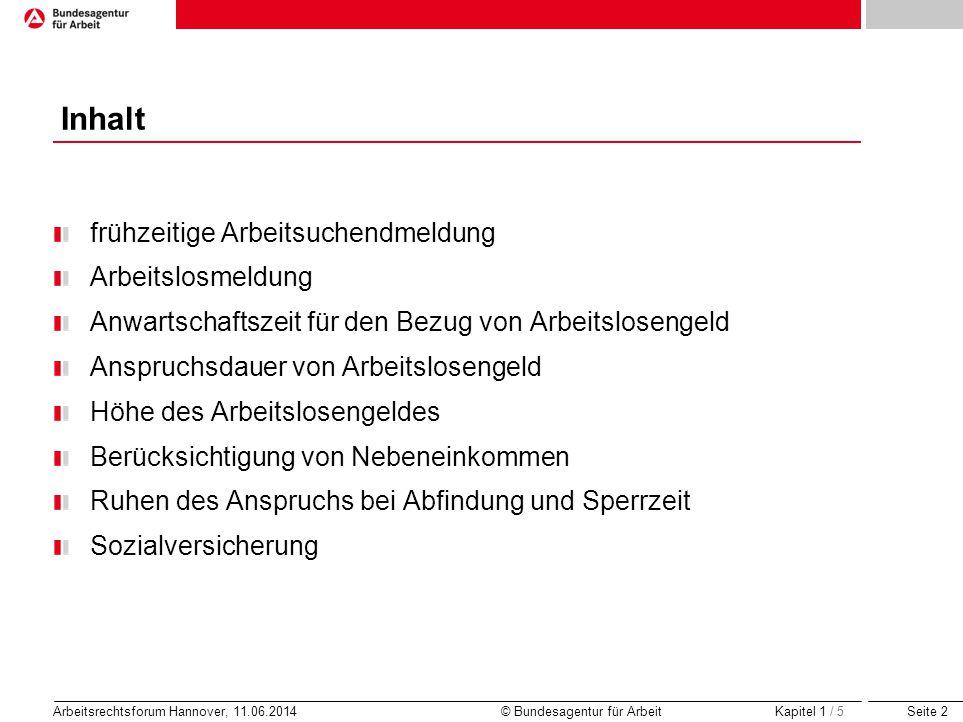 Seite 2 Arbeitsrechtsforum Hannover, 11.06.2014 © Bundesagentur für Arbeit Inhalt frühzeitige Arbeitsuchendmeldung Arbeitslosmeldung Anwartschaftszeit