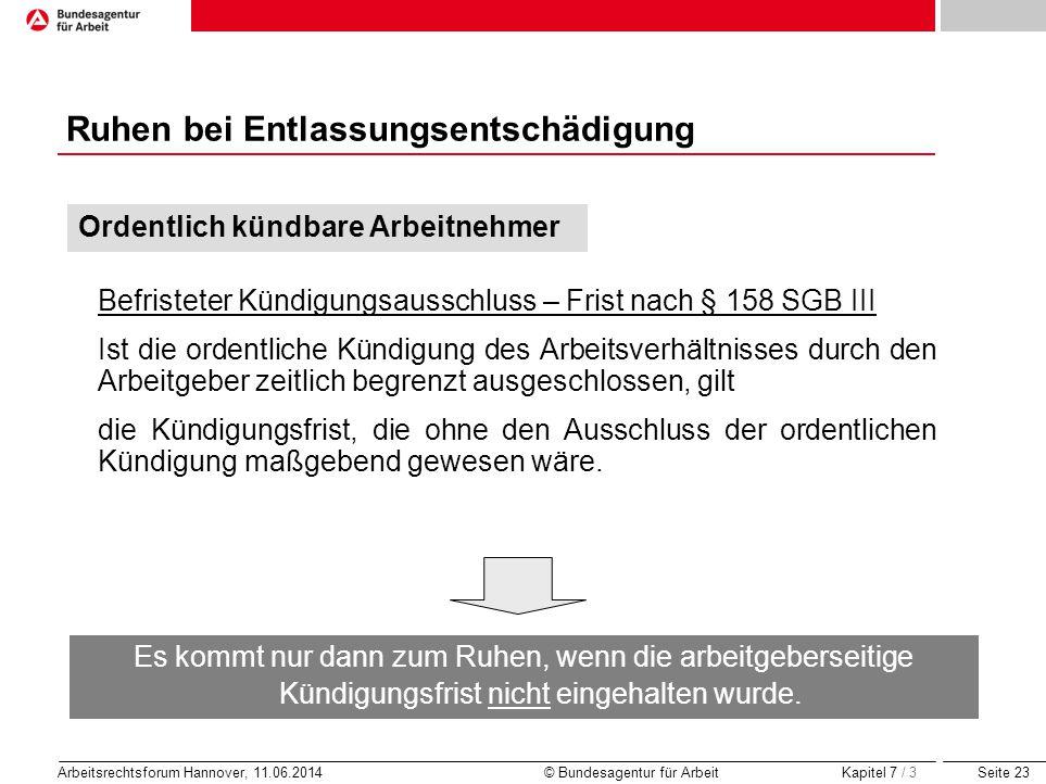 Seite 23 Arbeitsrechtsforum Hannover, 11.06.2014 © Bundesagentur für Arbeit Ruhen bei Entlassungsentschädigung Befristeter Kündigungsausschluss – Fris