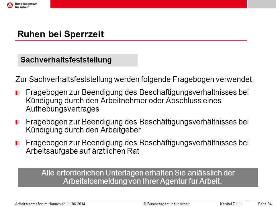 Seite 34 Arbeitsrechtsforum Hannover, 11.06.2014 © Bundesagentur für Arbeit Ruhen bei Sperrzeit Zur Sachverhaltsfeststellung werden folgende Frageböge