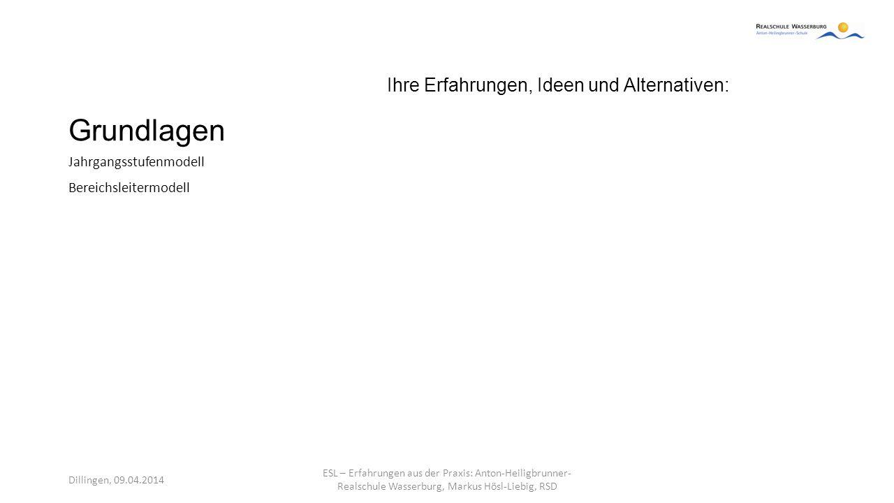 Grundlagen Ihre Erfahrungen, Ideen und Alternativen: Jahrgangsstufenmodell Bereichsleitermodell Dillingen, 09.04.2014 ESL – Erfahrungen aus der Praxis