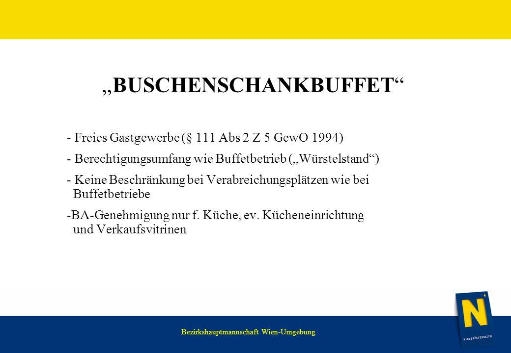 """WIR HABEN NOCH VIEL VOR. """"BUSCHENSCHANKBUFFET"""" - Freies Gastgewerbe (§ 111 Abs 2 Z 5 GewO 1994) - Berechtigungsumfang wie Buffetbetrieb (""""Würstelstand"""