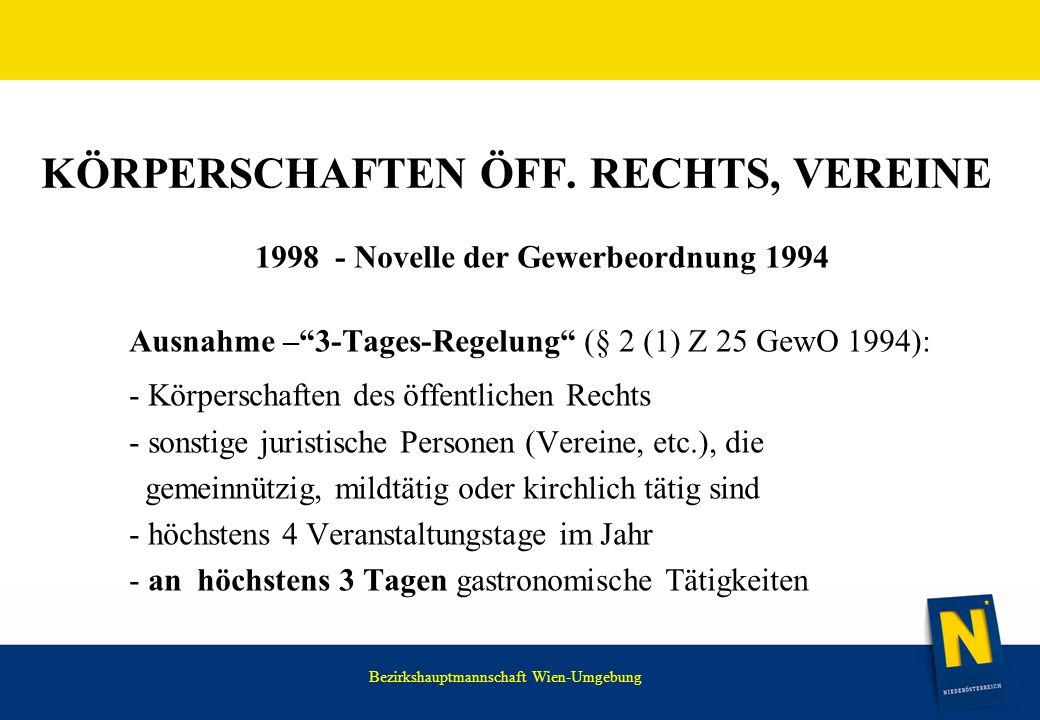 """WIR HABEN NOCH VIEL VOR. KÖRPERSCHAFTEN ÖFF. RECHTS, VEREINE 1998 - Novelle der Gewerbeordnung 1994 Ausnahme –""""3-Tages-Regelung"""" (§ 2 (1) Z 25 GewO 19"""