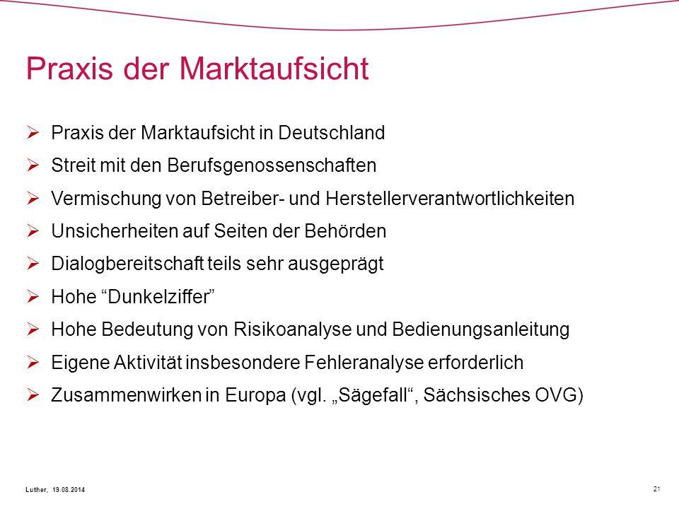 Praxis der Marktaufsicht 21 Luther, 19.08.2014  Praxis der Marktaufsicht in Deutschland  Streit mit den Berufsgenossenschaften  Vermischung von Bet