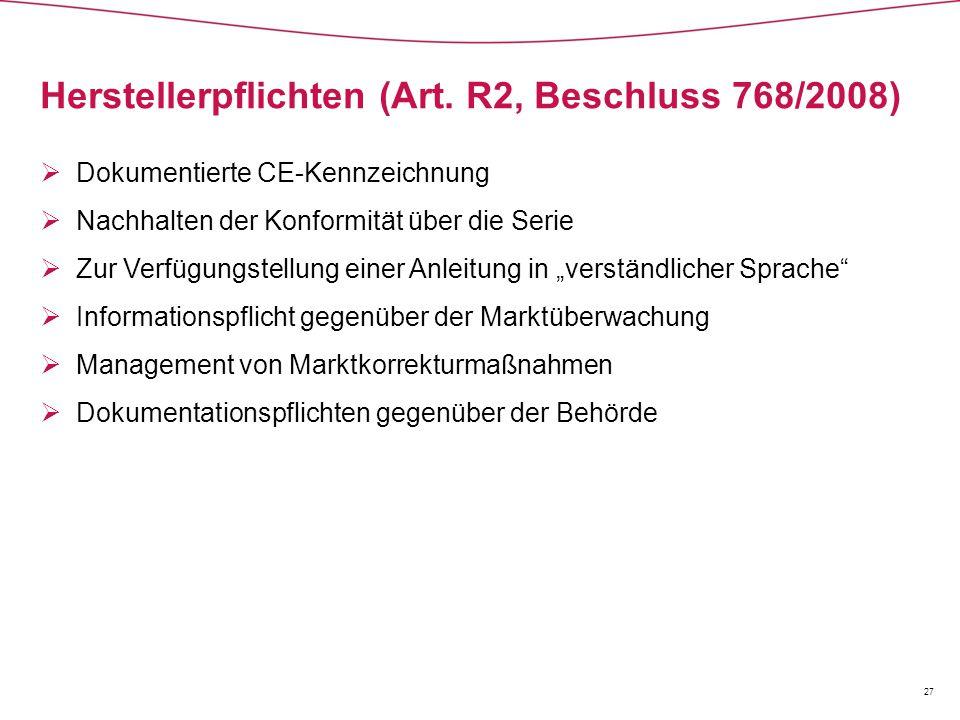Herstellerpflichten (Art. R2, Beschluss 768/2008)  Dokumentierte CE-Kennzeichnung  Nachhalten der Konformität über die Serie  Zur Verfügungstellung