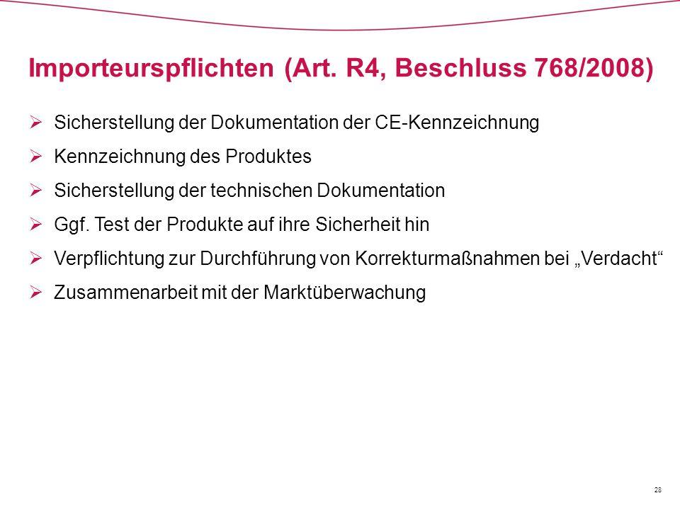 Importeurspflichten (Art. R4, Beschluss 768/2008)  Sicherstellung der Dokumentation der CE-Kennzeichnung  Kennzeichnung des Produktes  Sicherstellu