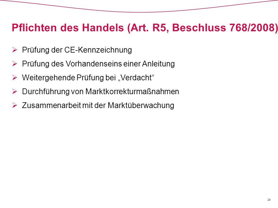 Pflichten des Handels (Art. R5, Beschluss 768/2008)  Prüfung der CE-Kennzeichnung  Prüfung des Vorhandenseins einer Anleitung  Weitergehende Prüfun