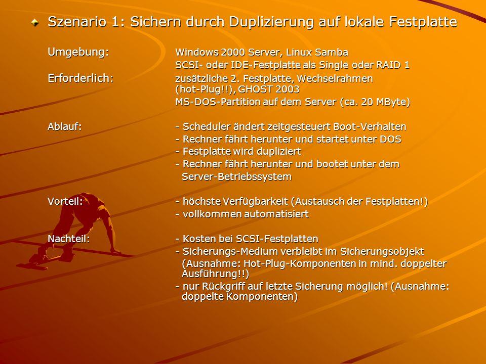 Szenario 1: Sichern durch Duplizierung auf lokale Festplatte Umgebung: Windows 2000 Server, Linux Samba SCSI- oder IDE-Festplatte als Single oder RAID 1 Erforderlich: zusätzliche 2.