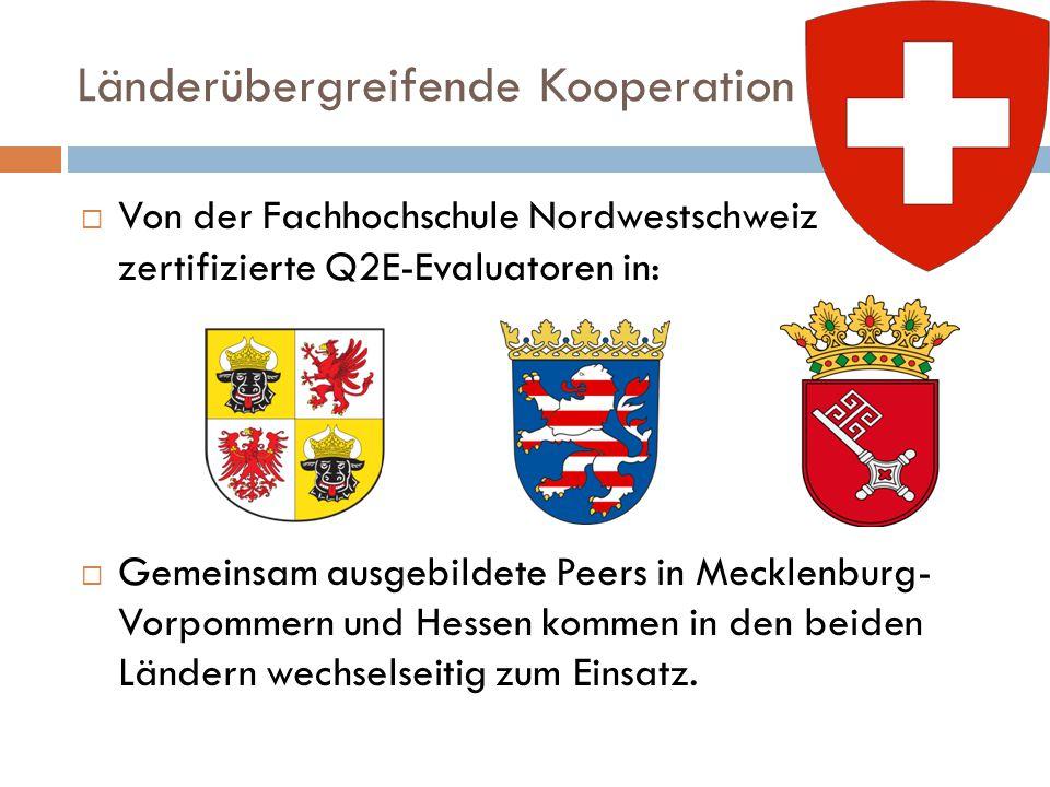 Länderübergreifende Kooperation  Von der Fachhochschule Nordwestschweiz zertifizierte Q2E-Evaluatoren in:  Gemeinsam ausgebildete Peers in Mecklenburg- Vorpommern und Hessen kommen in den beiden Ländern wechselseitig zum Einsatz.