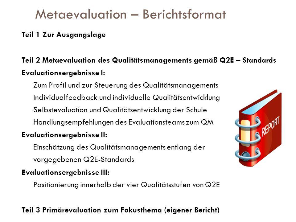 Metaevaluation – Berichtsformat Teil 1 Zur Ausgangslage Teil 2 Metaevaluation des Qualitätsmanagements gemäß Q2E – Standards Evaluationsergebnisse I: Zum Profil und zur Steuerung des Qualitätsmanagements Individualfeedback und individuelle Qualitätsentwicklung Selbstevaluation und Qualitätsentwicklung der Schule Handlungsempfehlungen des Evaluationsteams zum QM Evaluationsergebnisse II: Einschätzung des Qualitätsmanagements entlang der vorgegebenen Q2E-Standards Evaluationsergebnisse III: Positionierung innerhalb der vier Qualitätsstufen von Q2E Teil 3 Primärevaluation zum Fokusthema (eigener Bericht)
