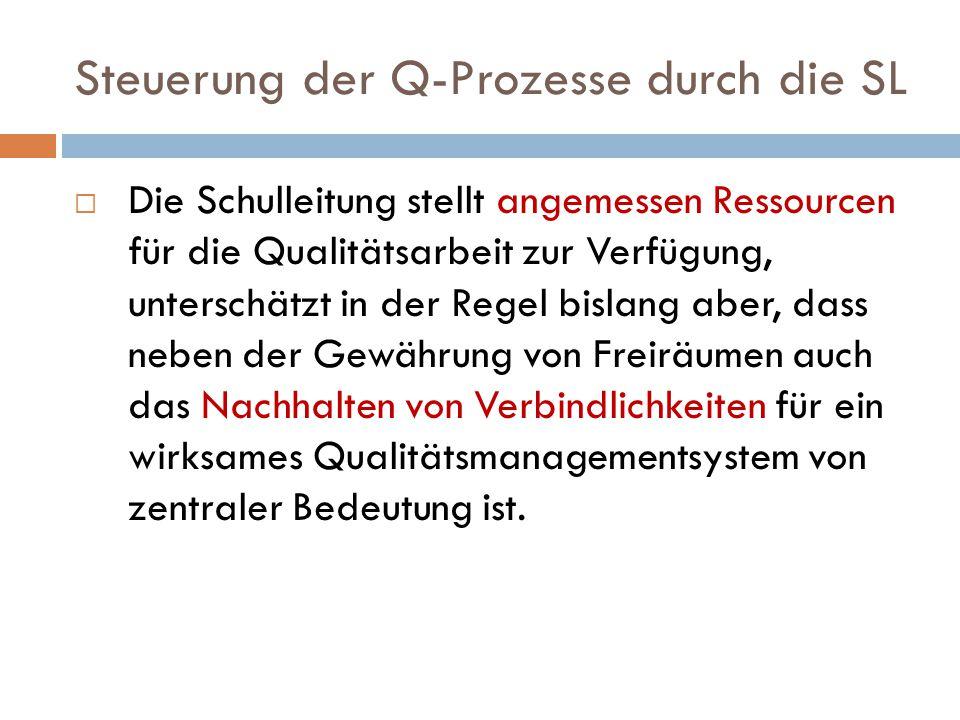 Steuerung der Q-Prozesse durch die SL  Die Schulleitung stellt angemessen Ressourcen für die Qualitätsarbeit zur Verfügung, unterschätzt in der Regel
