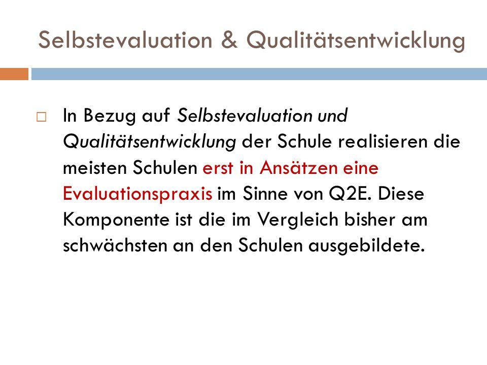 Selbstevaluation & Qualitätsentwicklung  In Bezug auf Selbstevaluation und Qualitätsentwicklung der Schule realisieren die meisten Schulen erst in Ansätzen eine Evaluationspraxis im Sinne von Q2E.