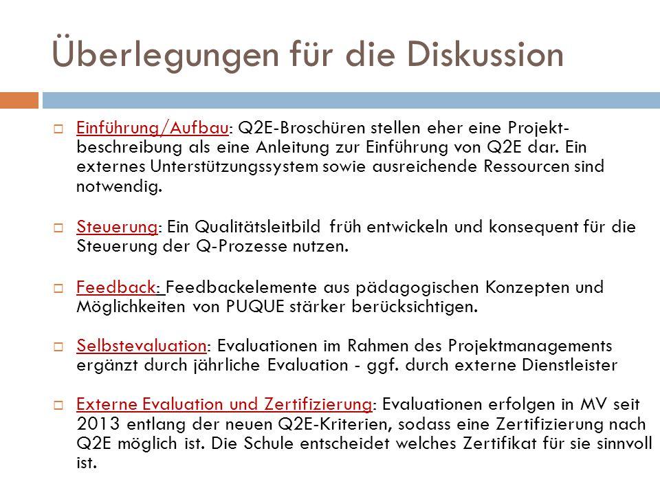 Überlegungen für die Diskussion  Einführung/Aufbau: Q2E-Broschüren stellen eher eine Projekt- beschreibung als eine Anleitung zur Einführung von Q2E dar.