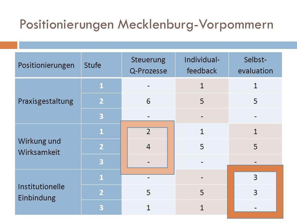Positionierungen Mecklenburg-Vorpommern PositionierungenStufe Steuerung Q-Prozesse Individual- feedback Selbst- evaluation Praxisgestaltung 1-11 2655 3--- Wirkung und Wirksamkeit 1211 2455 3--- Institutionelle Einbindung 1--3 2553 311-