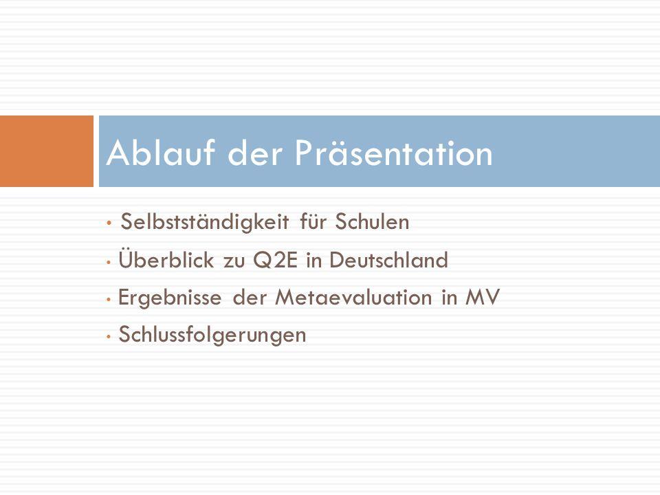 Ablauf der Präsentation Selbstständigkeit für Schulen Überblick zu Q2E in Deutschland Ergebnisse der Metaevaluation in MV Schlussfolgerungen