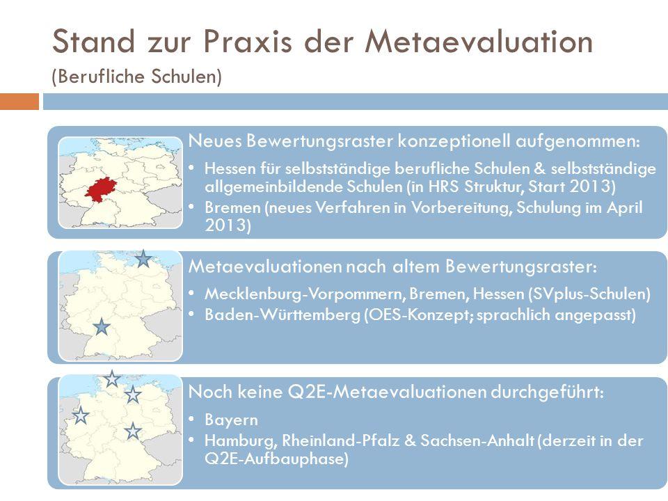 Stand zur Praxis der Metaevaluation (Berufliche Schulen)