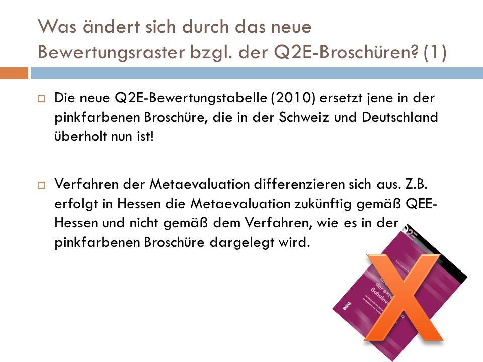 Was ändert sich durch das neue Bewertungsraster bzgl. der Q2E-Broschüren? (1)  Die neue Q2E-Bewertungstabelle (2010) ersetzt jene in der pinkfarbenen