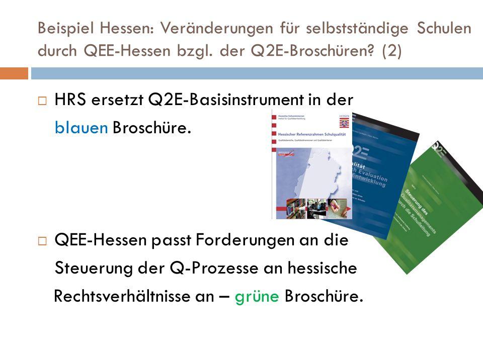 Beispiel Hessen: Veränderungen für selbstständige Schulen durch QEE-Hessen bzgl. der Q2E-Broschüren? (2)  HRS ersetzt Q2E-Basisinstrument in der blau