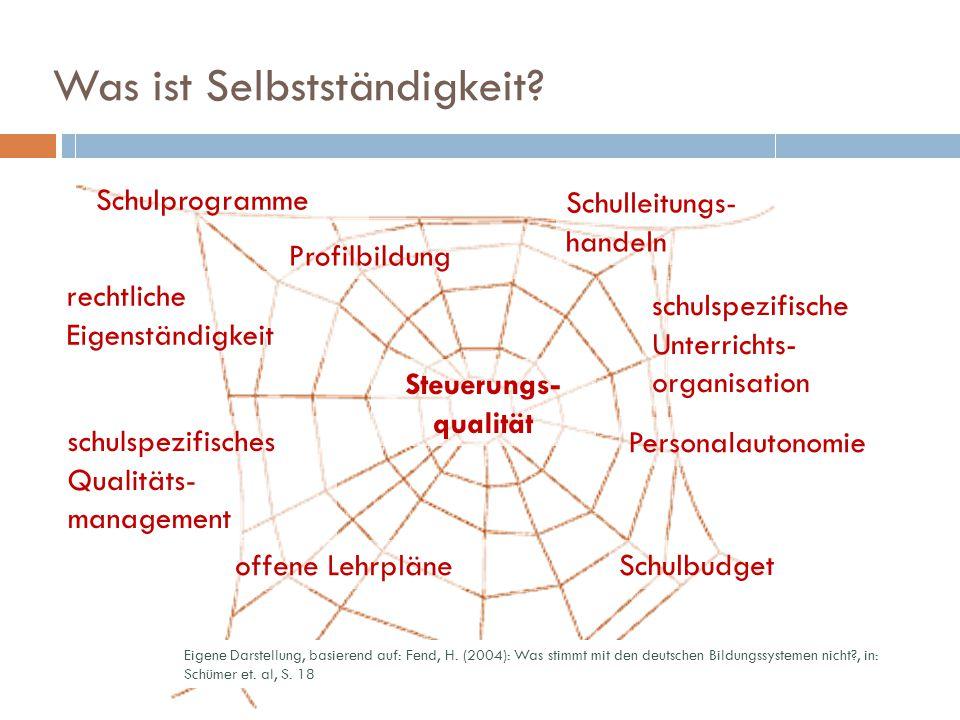 Was ist Selbstständigkeit? 5 Steuerungs- qualität Eigene Darstellung, basierend auf: Fend, H. (2004): Was stimmt mit den deutschen Bildungssystemen ni