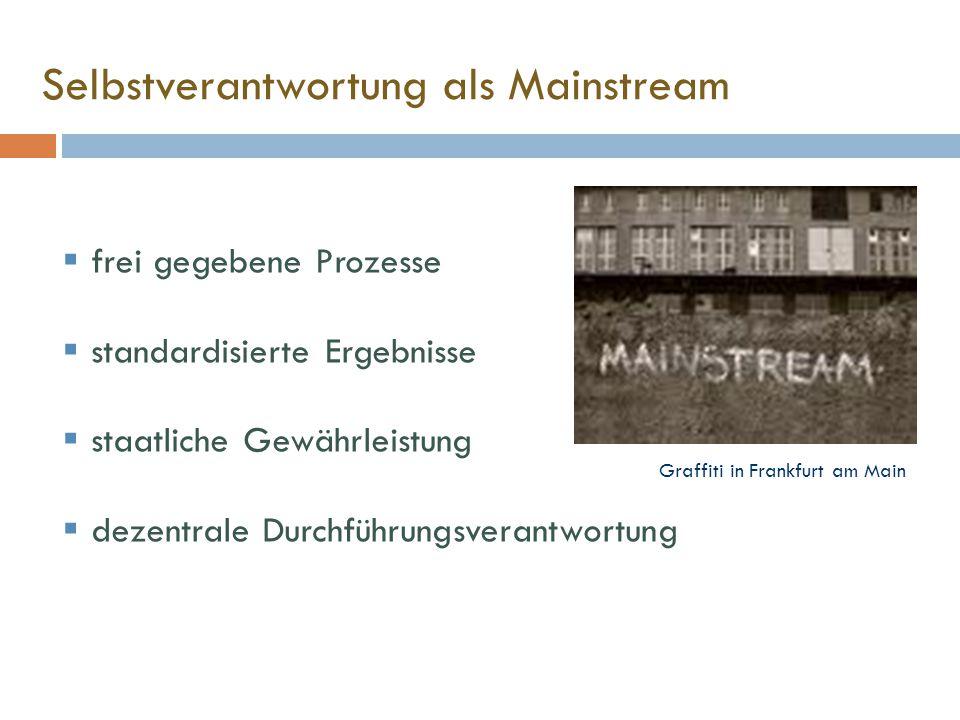 Selbstverantwortung als Mainstream  frei gegebene Prozesse  standardisierte Ergebnisse  staatliche Gewährleistung  dezentrale Durchführungsverantwortung Graffiti in Frankfurt am Main