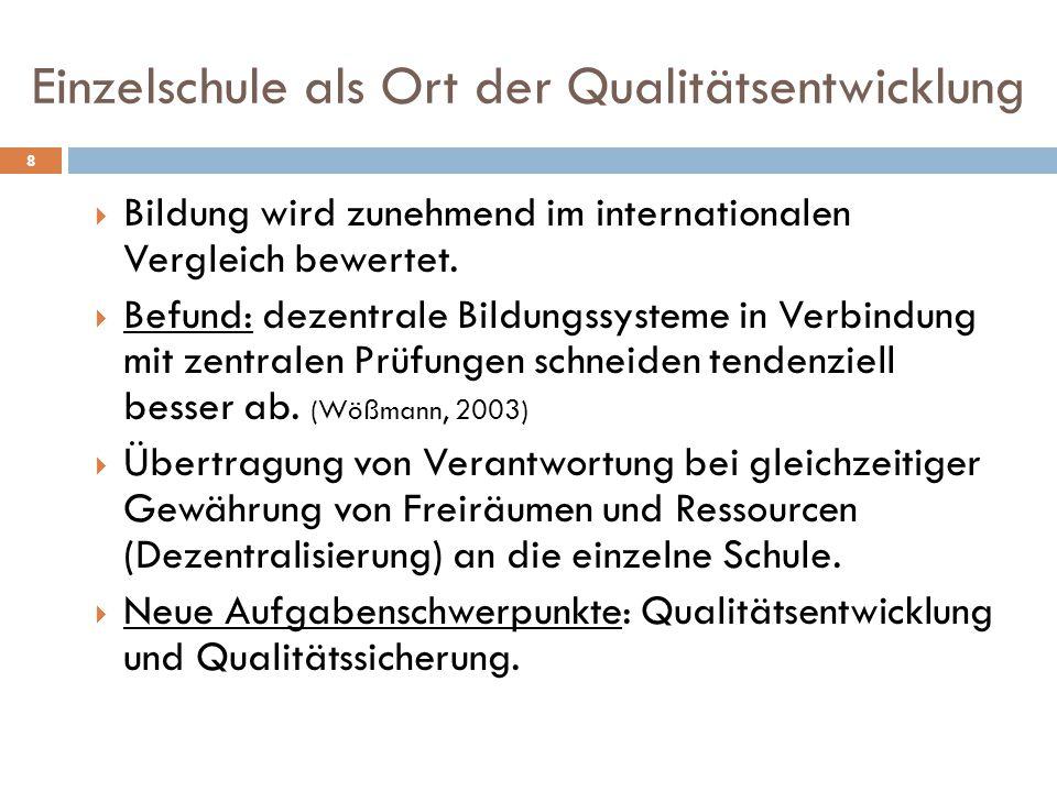 Einzelschule als Ort der Qualitätsentwicklung 8  Bildung wird zunehmend im internationalen Vergleich bewertet.