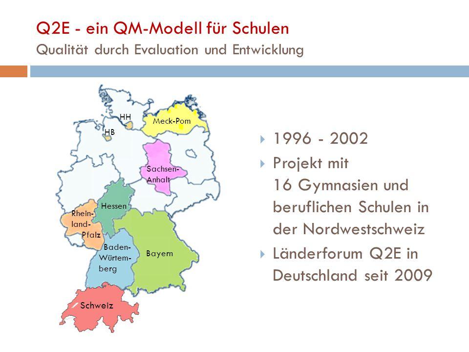Q2E - ein QM-Modell für Schulen Qualität durch Evaluation und Entwicklung  1996 - 2002  Projekt mit 16 Gymnasien und beruflichen Schulen in der Nordwestschweiz  Länderforum Q2E in Deutschland seit 2009 Schweiz Bayern Baden- Würtem- berg Hessen Meck-Pom HB HH Sachsen- Anhalt Rhein- land- Pfalz