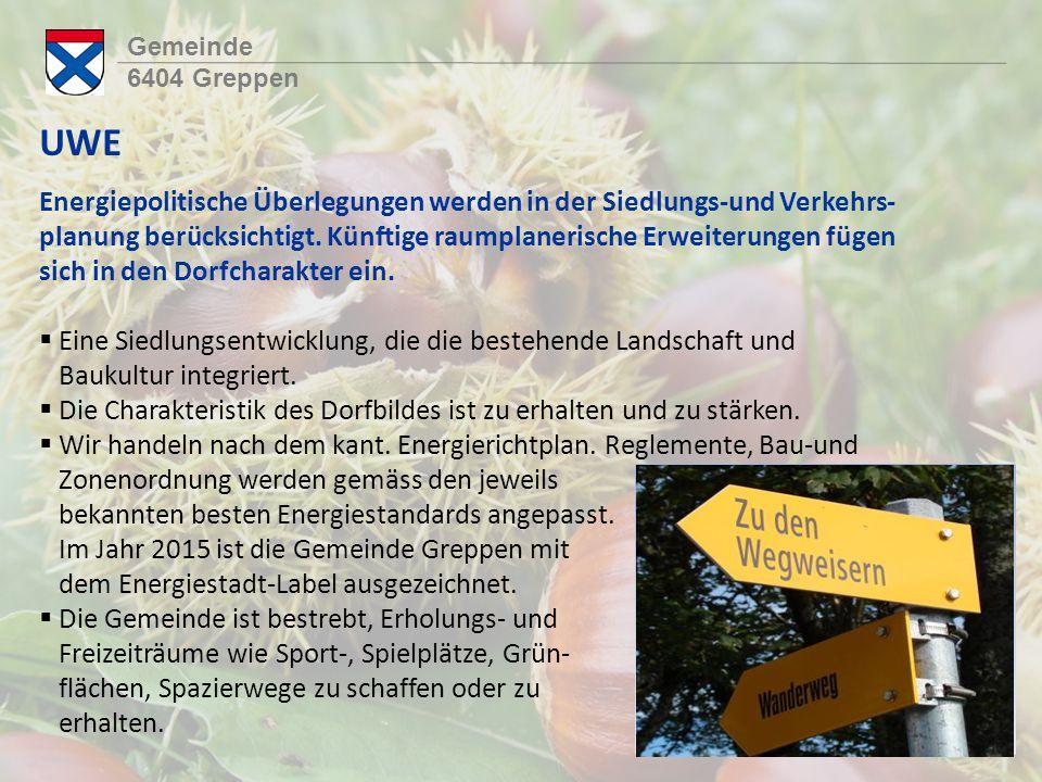 Gemeinde 6404 Greppen UWE Energiepolitische Überlegungen werden in der Siedlungs-und Verkehrs- planung berücksichtigt.